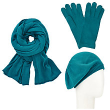 Buy John Lewis Plain Knit Scarf, Beret and Gloves Set, Teal Online at johnlewis.com
