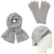 Buy John Lewis Plain Knit Scarf, Beret and Gloves Set, Grey Online at johnlewis.com
