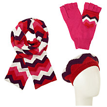 Buy John Lewis Geometric Chevron Scarf, Beret and Gloves Set, Red/Multi Online at johnlewis.com