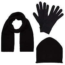 Buy John Lewis Cashmere Scarf, Roll Beanie and Gloves Set, Black Online at johnlewis.com