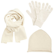 Buy John Lewis Cashmere Scarf, Roll Beanie and Gloves Set, Cream Online at johnlewis.com