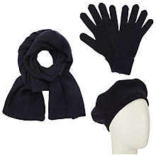 Buy John Lewis Cashmere Scarf, Beret and Gloves Set, Navy Online at johnlewis.com