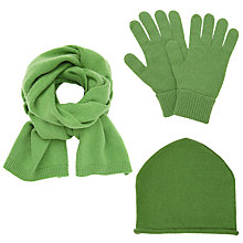 Buy John Lewis Cashmere Scarf, Roll Beanie and Gloves Set, Green Online at johnlewis.com