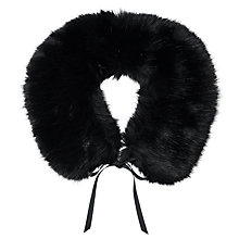 Buy Pure Collection Esther Faux Fur Collar, Black Online at johnlewis.com