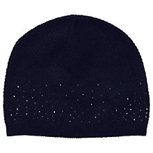 Buy Pure Collection Jennifer Cashmere Sparkle Hat, Navy Online at johnlewis.com