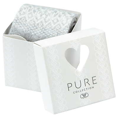 Pure Collection Aubrey Cashmere-Blend Socks In A Box, Light Grey/Soft White