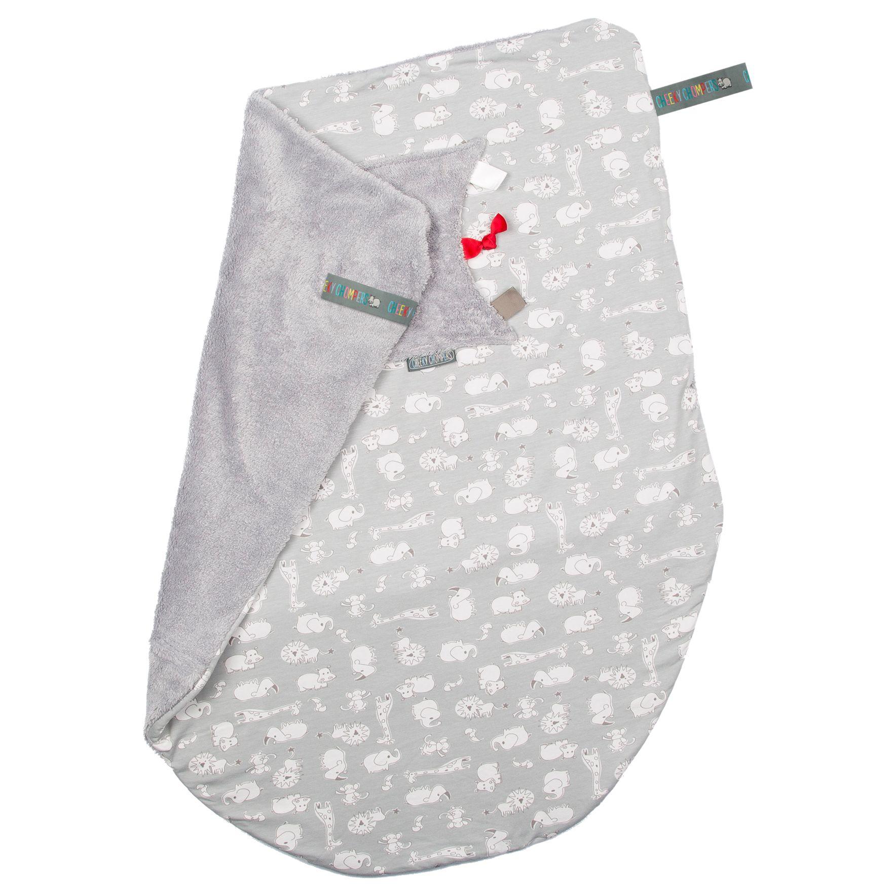 Cheeky Chompers Cheeky Chompers Baby Safari Blanket, Grey/White