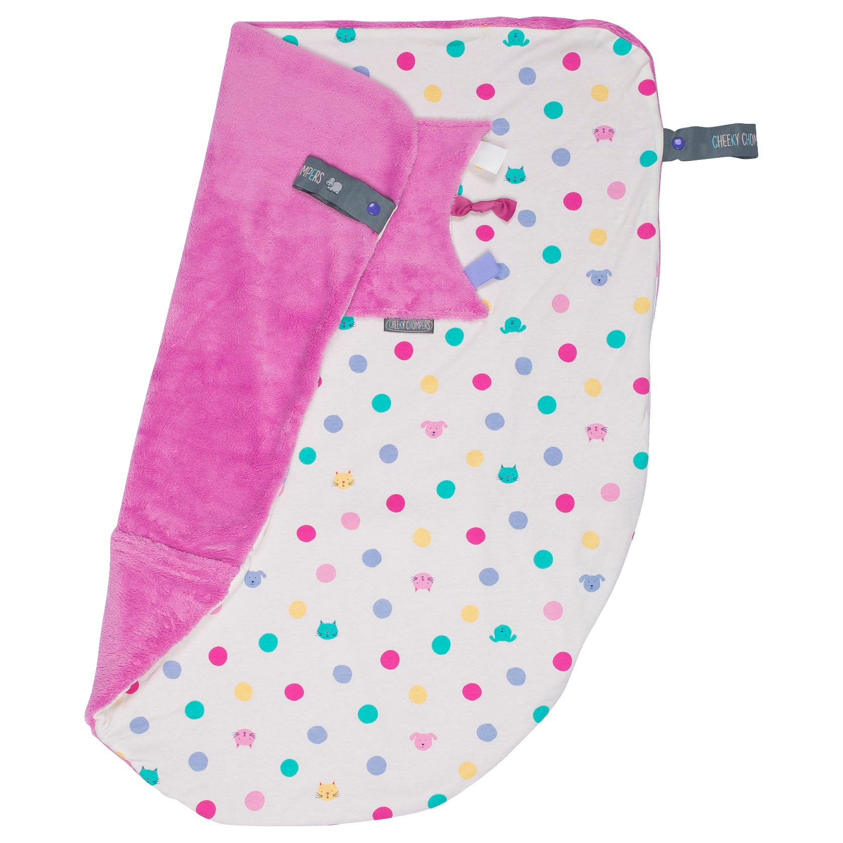 Cheeky Chompers Cheeky Chompers Baby Cat Spots Blanket, Pink/Multi