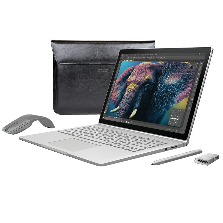 Microsoft Microsoft Surface Book, Intel Core i5, 8GB RAM, 256GB with Arc Touch Mouse, Surface Pen Tip Kit and Maroo Marbled Leather Sleeve