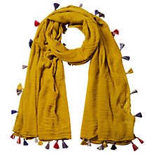 Buy White Stuff Dreaming Away Tassel Scarf, Dandelion Yellow Online at johnlewis.com