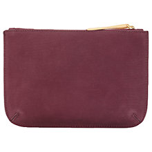 Buy Jigsaw Alba Medium Textured Leather Pouch Clutch, Wine Online at johnlewis.com