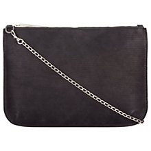 Buy Jigsaw Large Textured Leather Chain Pouch, Black Online at johnlewis.com