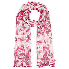 Buy Jigsaw Stamped Floral Print Pom Pom Scarf, Rose Online at johnlewis.com