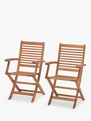 John Lewis & Partners Venice Folding Garden Armchairs, FSC-Certified (Eucalyptus), Set of 2, Natural