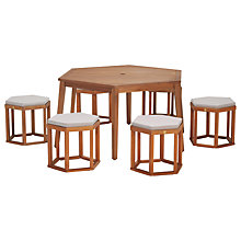 Buy John Lewis Venice 6-Seater Hexagonal Dining Table & Chairs Set, FSC-Certified (Eucalyptus), Natural Online at johnlewis.com