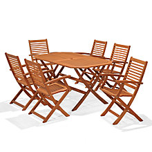 Buy John Lewis Venice Gateleg Table & 6 Folding Armchairs, FSC-Certified (Eucalyptus), Natural Online at johnlewis.com