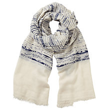 Buy John Lewis Textured Stripe Scarf, Navy/Cream Online at johnlewis.com