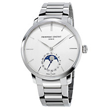 Buy Frédérique Constant FC-705S4S6B2 Men's Slimline Automatic Moon Phase Bracelet Strap Watch, Silver Online at johnlewis.com
