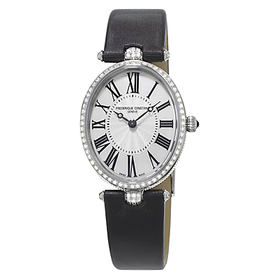 Frédérique Constant FC-200MPW2VD6 Women's Classics Art Deco Diamond Oval Leather Strap Watch, Black/Silver
