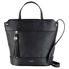 Buy Radley Roman Road Leather Large Grab Bag, Black Online at johnlewis.com