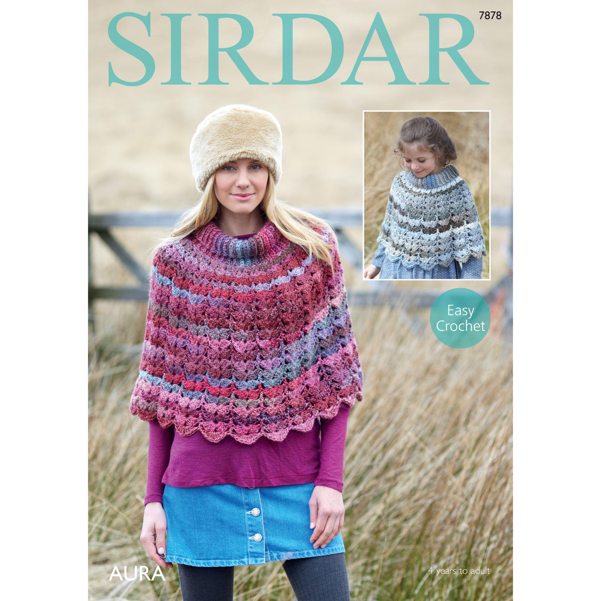 Sirdar Sirdar Aura Chunky Poncho Crochet Pattern, 7878