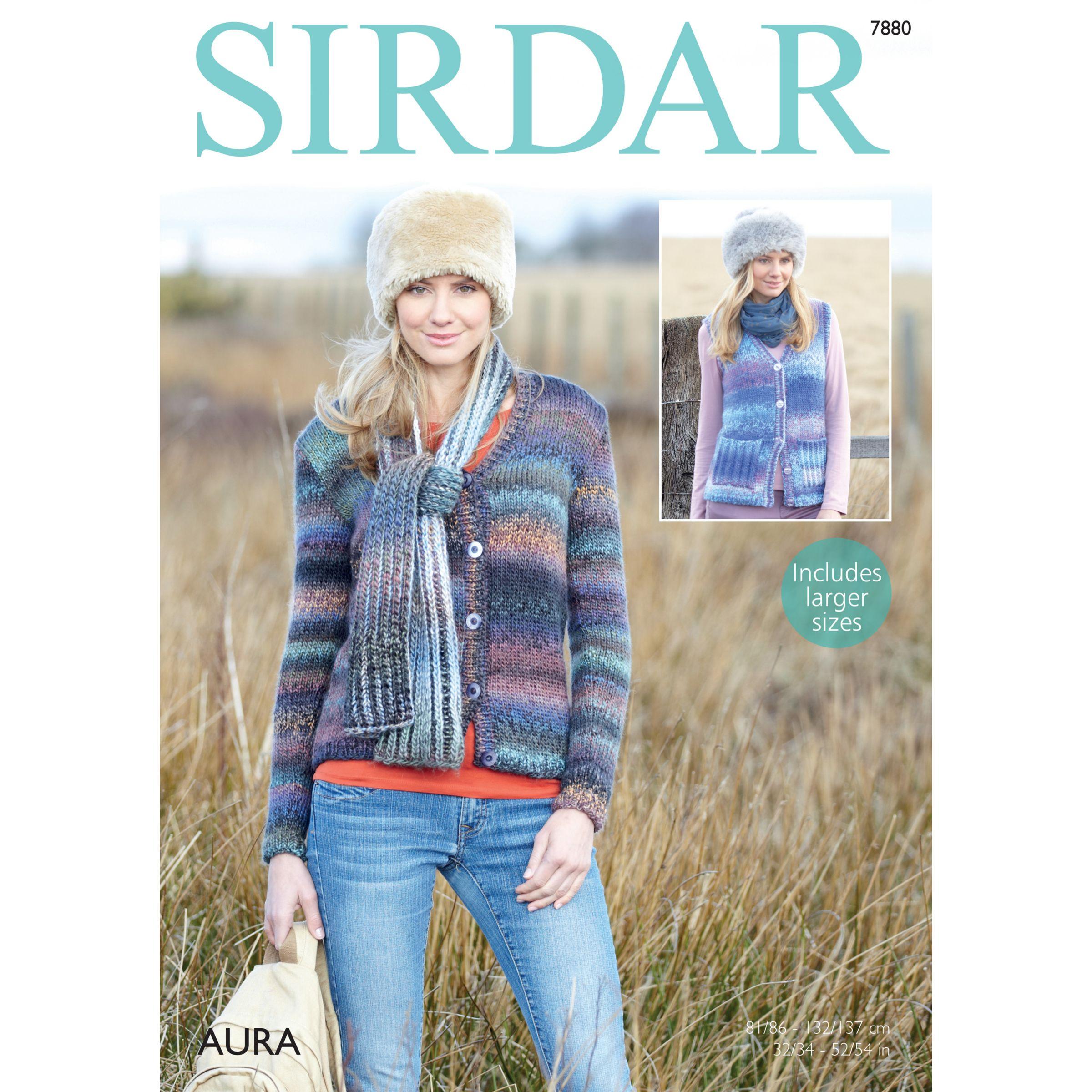 Sirdar Sirdar Aura Chunky Cardigan Knitting Pattern, 7880