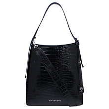 Buy Kurt Geiger Penelope Leather Croc Hobo Bag, Black Online at johnlewis.com
