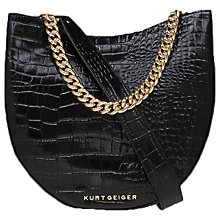 Buy Kurt Geiger Sloane Croc Leather Saddle Bag Online at johnlewis.com