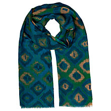 Buy East Ikat Print Silk Wool Scarf, Teal Online at johnlewis.com
