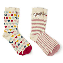 Buy Fat Face Cow and Heart Print Ankle Socks, Pack of 2, Neutral/Multi Online at johnlewis.com