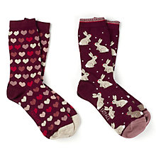 Buy Fat Face Rabbit and Heart Print Ankle Socks, Pack of 2, Maroon/Multi Online at johnlewis.com