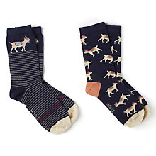 Buy Fat Face Scatter Goat Print Ankle Socks, Pack of 2, Navy/Sand Online at johnlewis.com