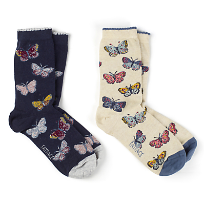 Fat Face Mini Butterfly Ankle Socks, Pack of 2, Multi