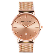 Buy Abbott Lyon Women's Stellar Date Mesh Bracelet Strap Watch, Rose Gold Online at johnlewis.com