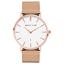 Buy Abbott Lyon Unisex Kensington 40 Mesh Bracelet Strap Watch, Rose Gold/White Online at johnlewis.com