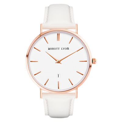 Abbott Lyon Women's White Dove Rose Gold Date Leather Strap Watch, White
