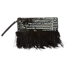 Buy Miss Selfridge Feather Trim Sequin Clutch Bag Online at johnlewis.com