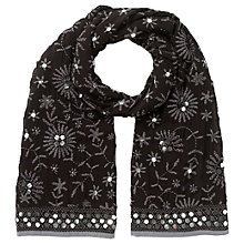 Buy East Sequin Embellished Scarf, Black Online at johnlewis.com