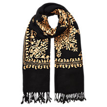 Buy East Chain Work Embroidered Scarf, Black Online at johnlewis.com