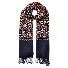Buy East Chain Work Embroidered Scarf, Teal Online at johnlewis.com