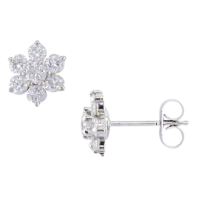 EWA 18ct White Gold Diamond Cluster Flower Stud Earrings