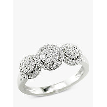 Buy EWA 18ct White Gold Diamond Triple Cluster Engagement Ring Online at johnlewis.com