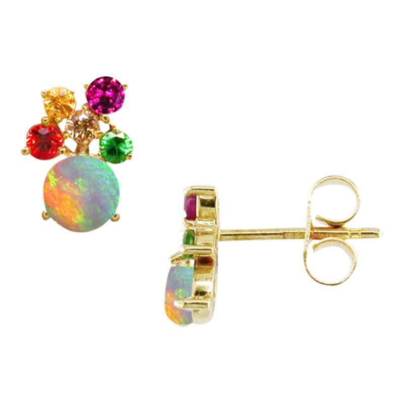 London Road London Road 9ct Yellow Gold Diamond and Gemstones Bloomsbury Harlequin Stud Earrings, Multi