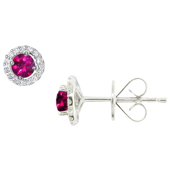EWA EWA 18ct White Gold Diamond and Ruby Cluster Stud Earrings