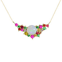 Buy London Road 9ct Yellow Gold Diamond and Gemstones Bloomsbury Harlequin Necklace, Multi Online at johnlewis.com