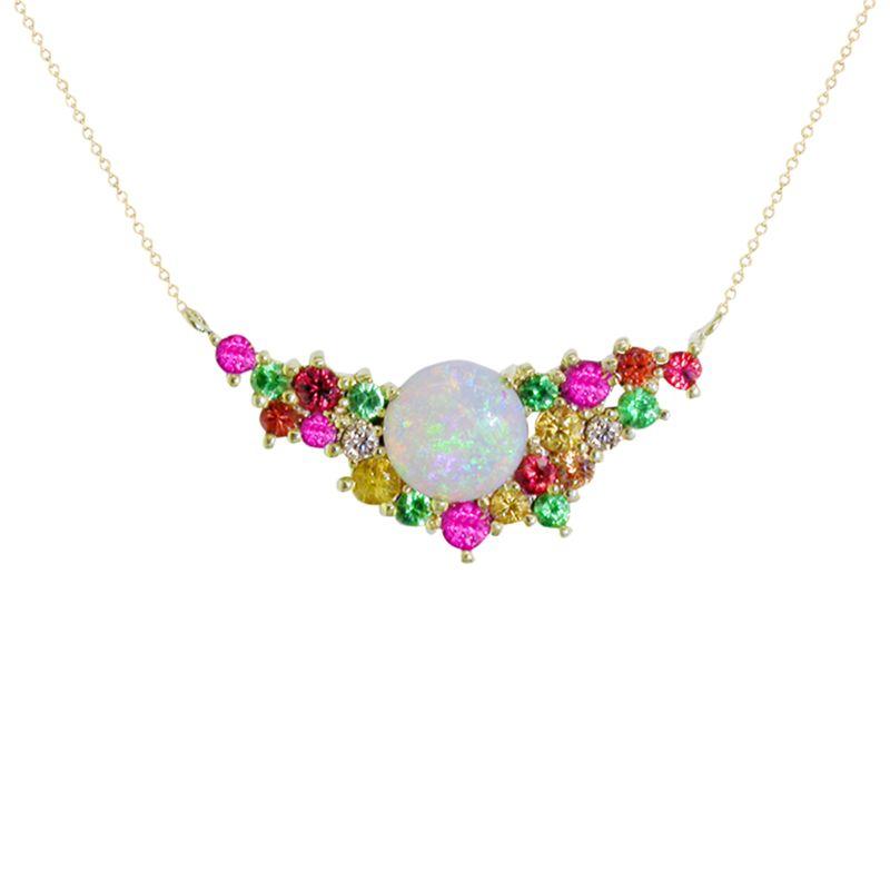 London Road London Road 9ct Yellow Gold Diamond and Gemstones Bloomsbury Harlequin Necklace, Multi