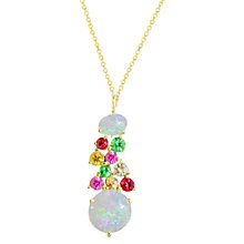 Buy London Road 9ct Yellow Gold Diamond and Gemstones Bloomsbury Harlequin Pendant Necklace, Multi Online at johnlewis.com