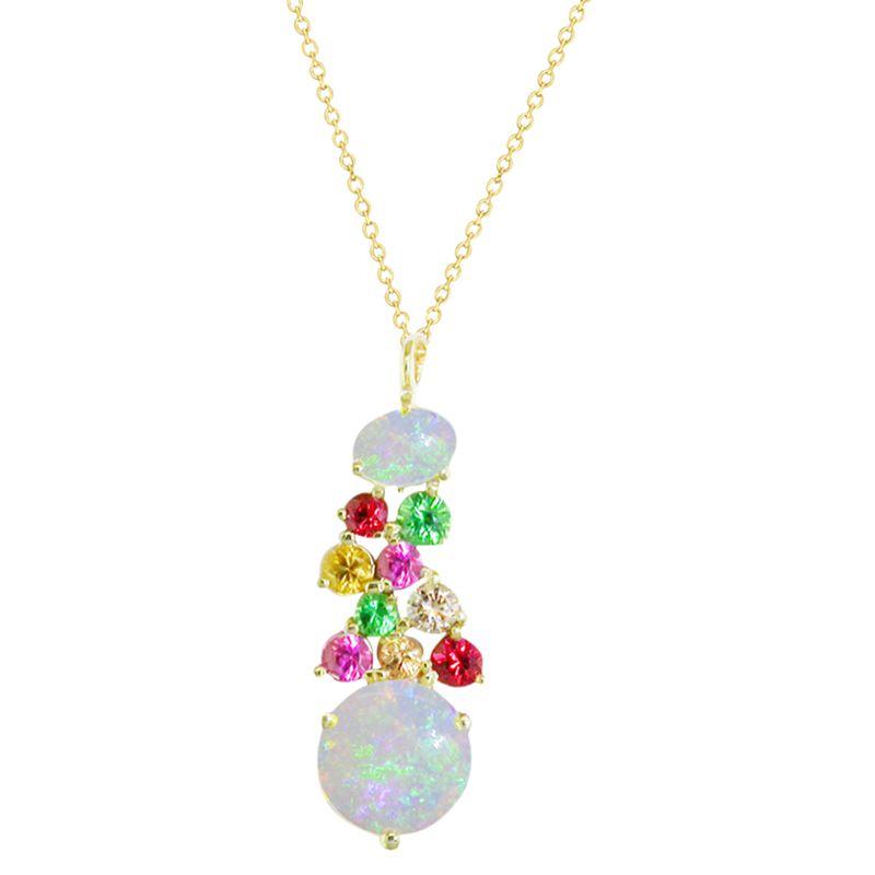 London Road London Road 9ct Yellow Gold Diamond and Gemstones Bloomsbury Harlequin Pendant Necklace, Multi