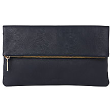 Buy Whistles Leather Foldover Zip Clutch Bag Online at johnlewis.com
