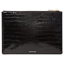 Buy Whistles Shiny Croc Medium Leather Clutch Bag, Black Online at johnlewis.com